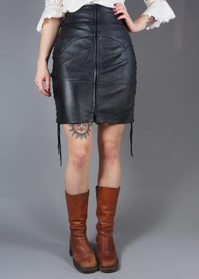 Leren Lace-Up Rok