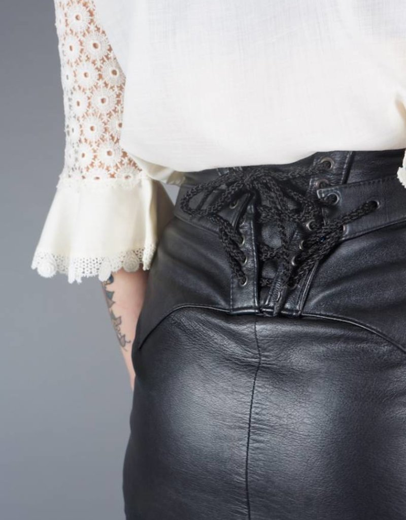 Leather Lace-Up Skirt