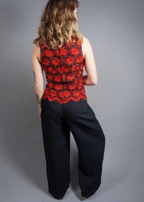Lace Jumpsuit with Flare Pants