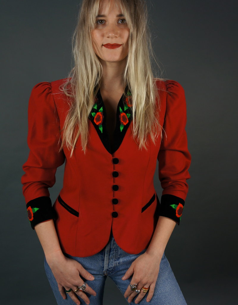 French Embroidery Peplum Jacket