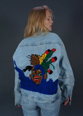 90s Hand Embroidered Denim Jacket