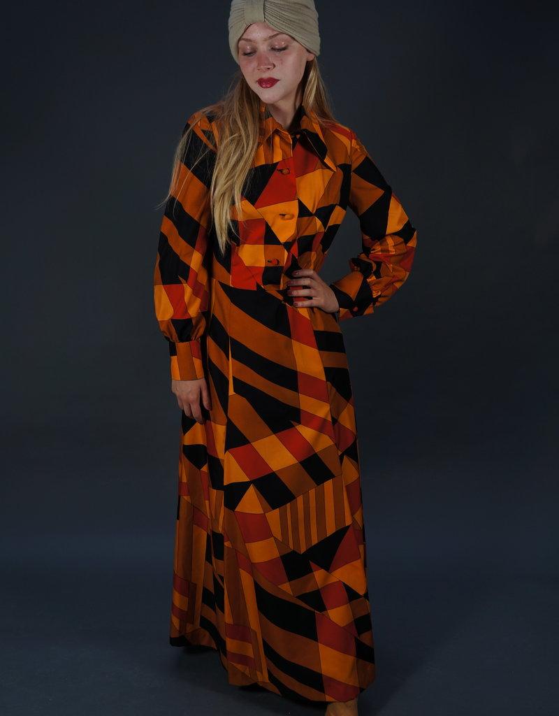 70s Graphic Maxi Dress Mandeline