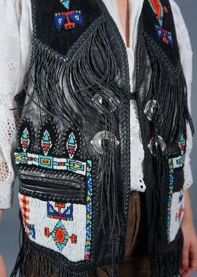 70s Leather Bead Fringe Waistcoat