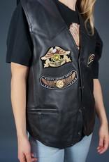 90s Biker Leather Waistcoat Patch