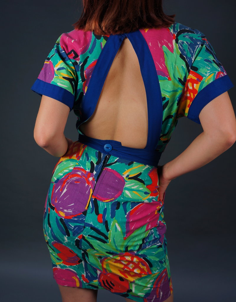 80s Abstract Flower Dress