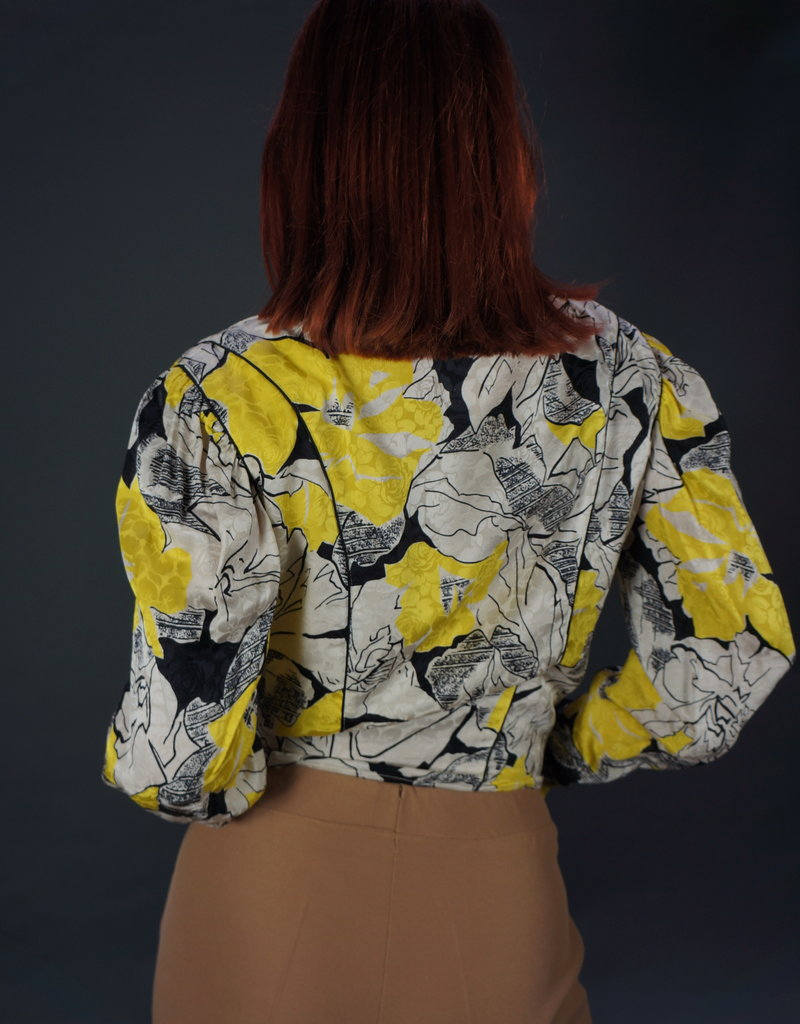 Louis Feraud Graphic Flower Wrap Blouse