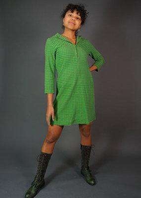60s Green Hooded Gingham Dress