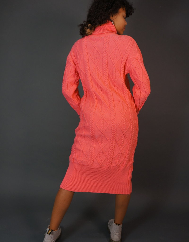 Pink Knitted Winter Dress