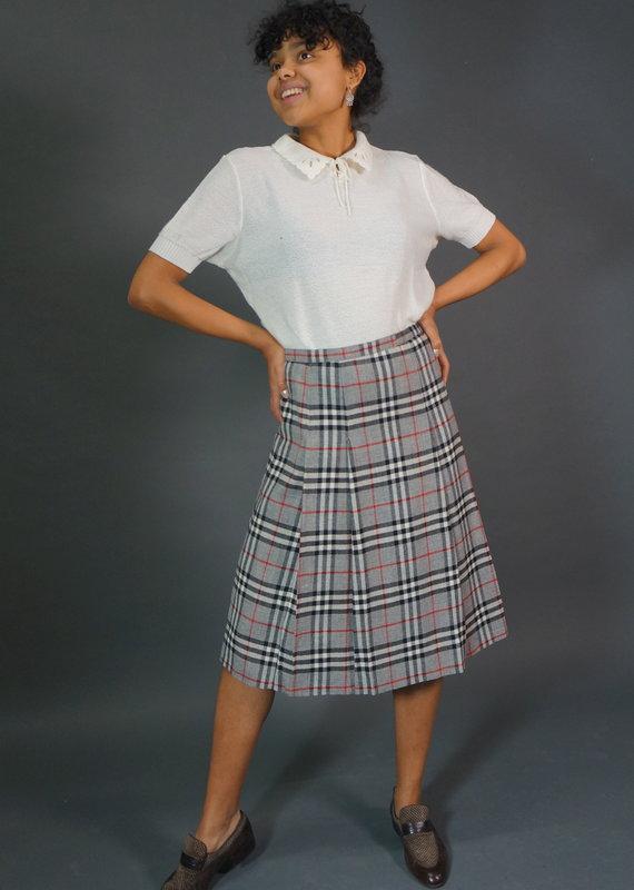 Burberrys Plaid Wool Skirt