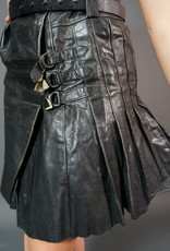 80s Leather Pleated Skirt