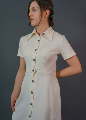 60's Stitched Cream Midi Dress