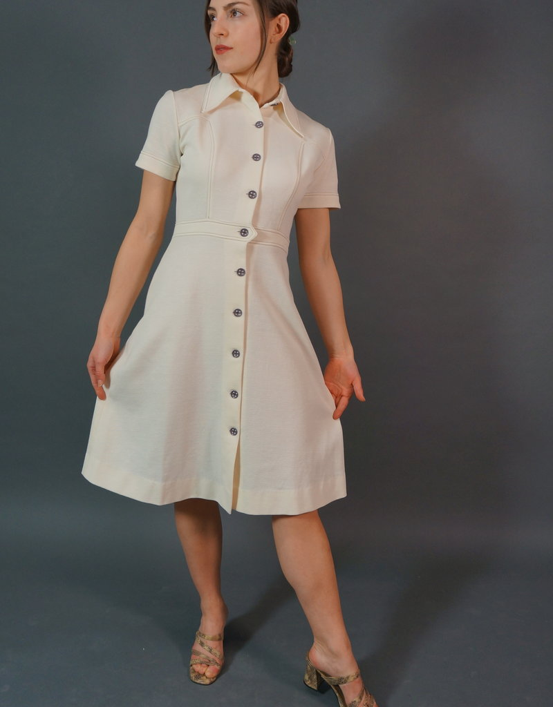 60's Stitched Cream Midi Dress