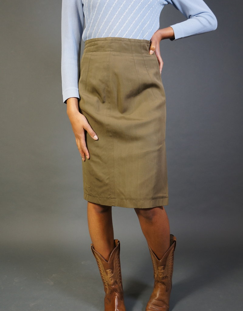 Jil Sander Khaki Pencil Skirt