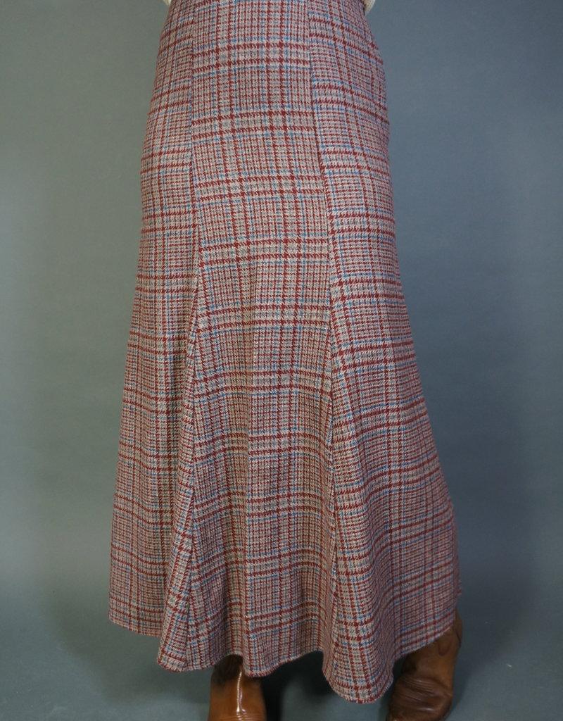 70s Pleated Plaid Skirt