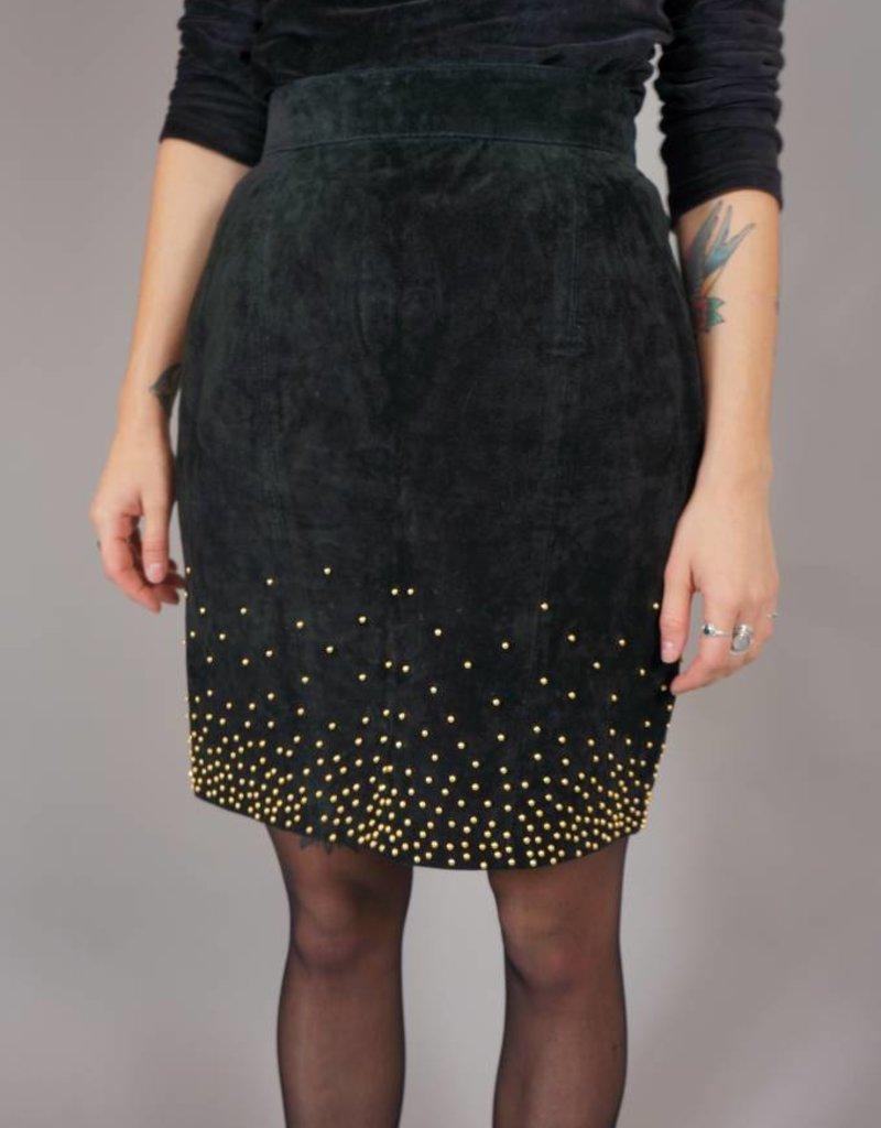 90s Suede Pencil Skirt Gold Rain