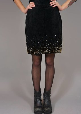 90s Suede Pencil Skirt Gold Rain