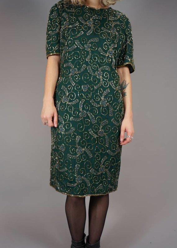 90s Silk Sequin Jurk Darlene