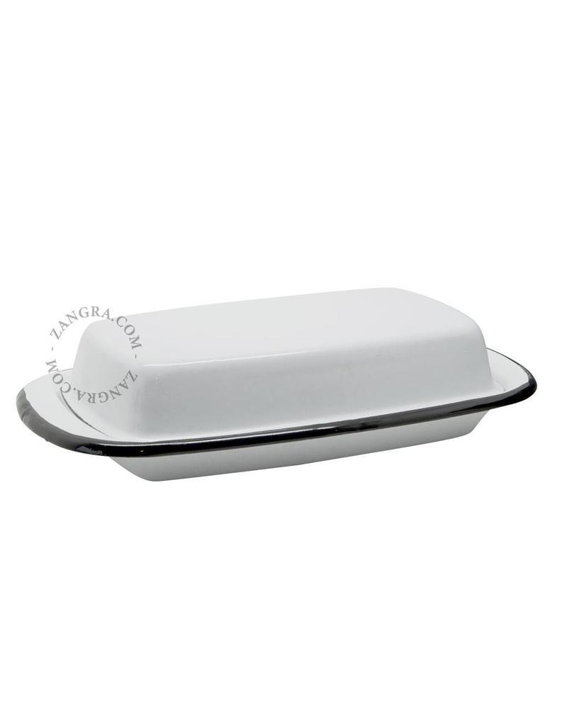 Zangra Emaille botervlootje wit