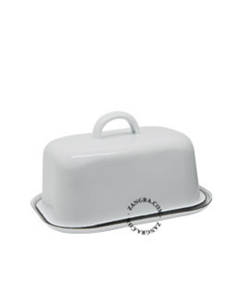 Zangra Emaille botervloot wit hoog