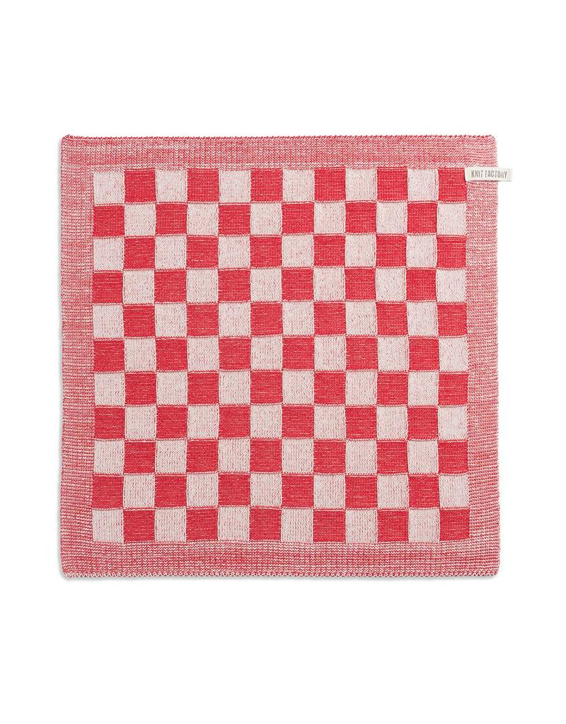 Knit Factory Keukendoek ecru/rood