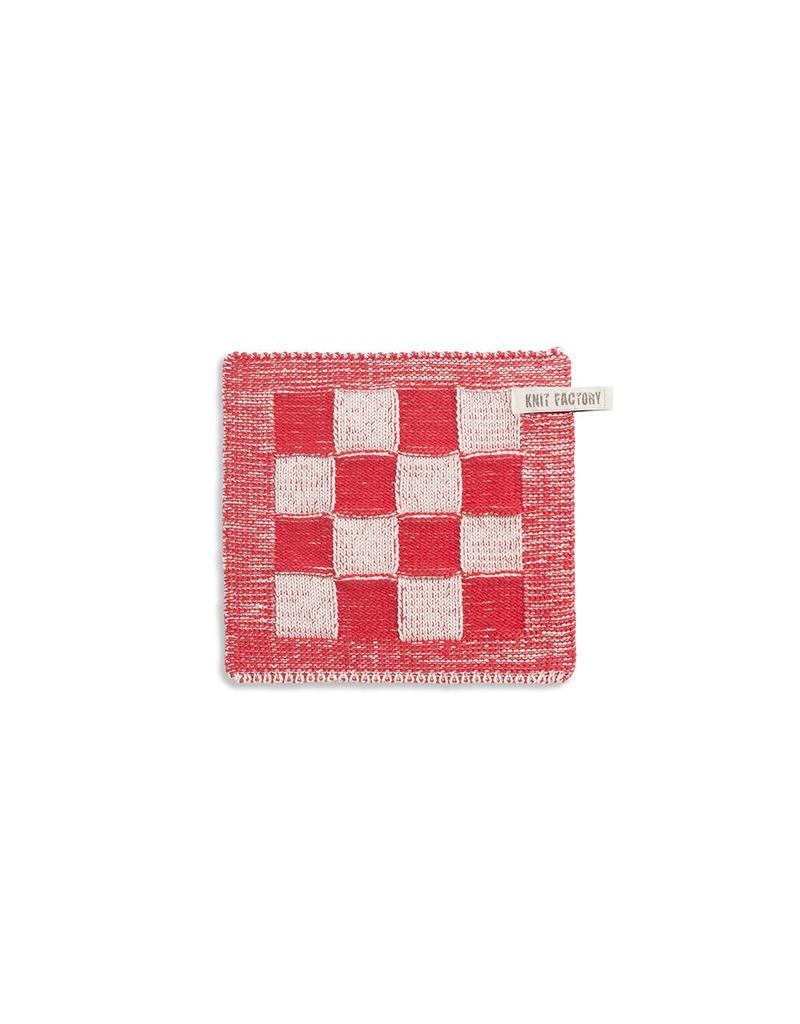 Knit Factory Pannenlap ecru/rood