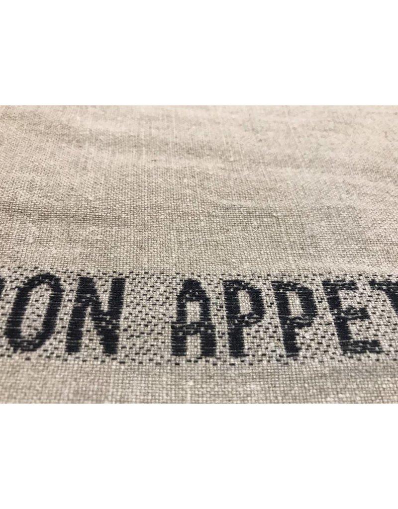 """Frans Linnen """"Bon Appetit"""" used zwart per meter"""