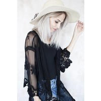 LACED MALINE BLACK - KIMONO