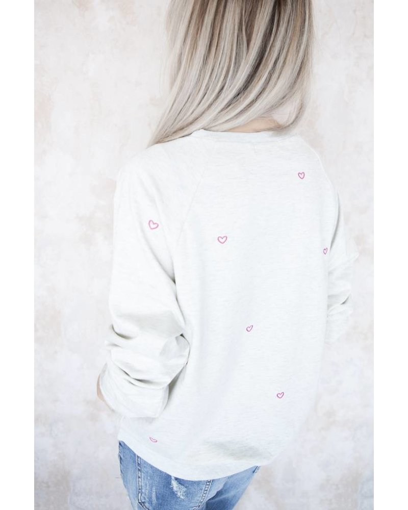 COZY HEARTS GREY/PINK - SWEATER