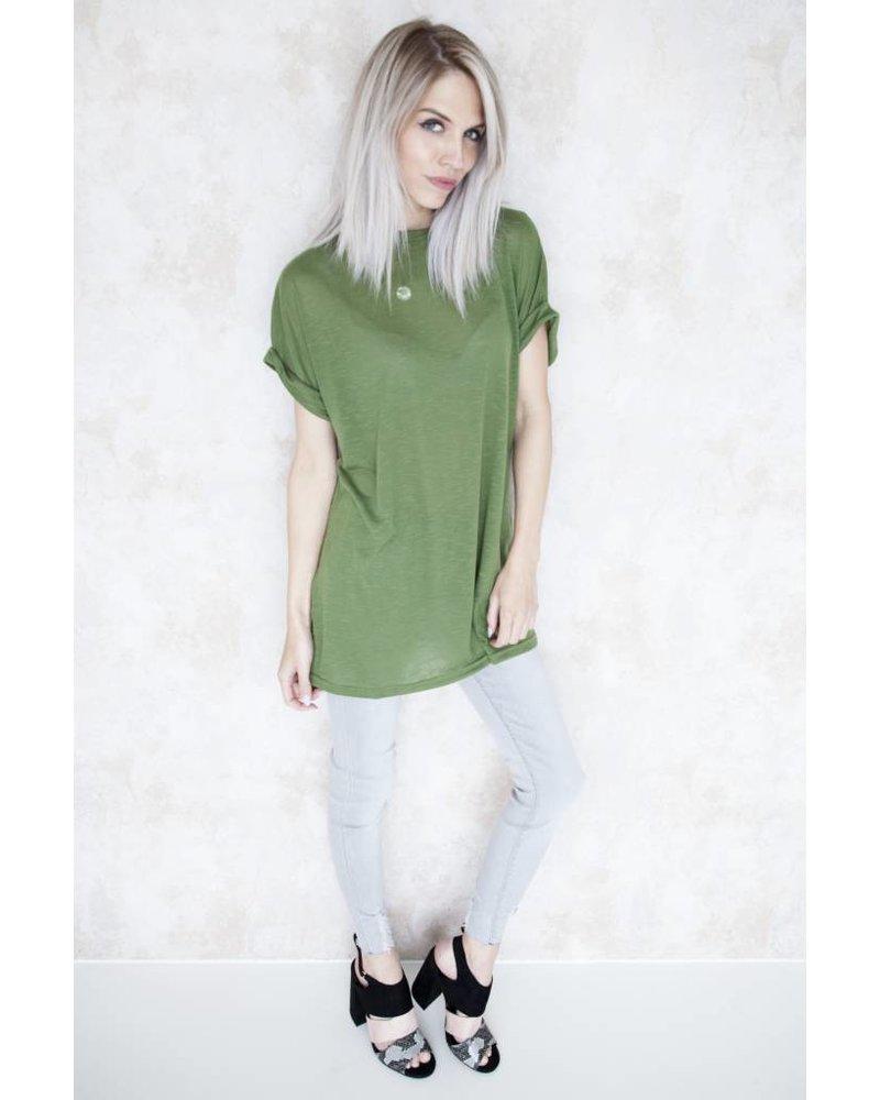 BASIC LONG GREEN - T-SHIRT