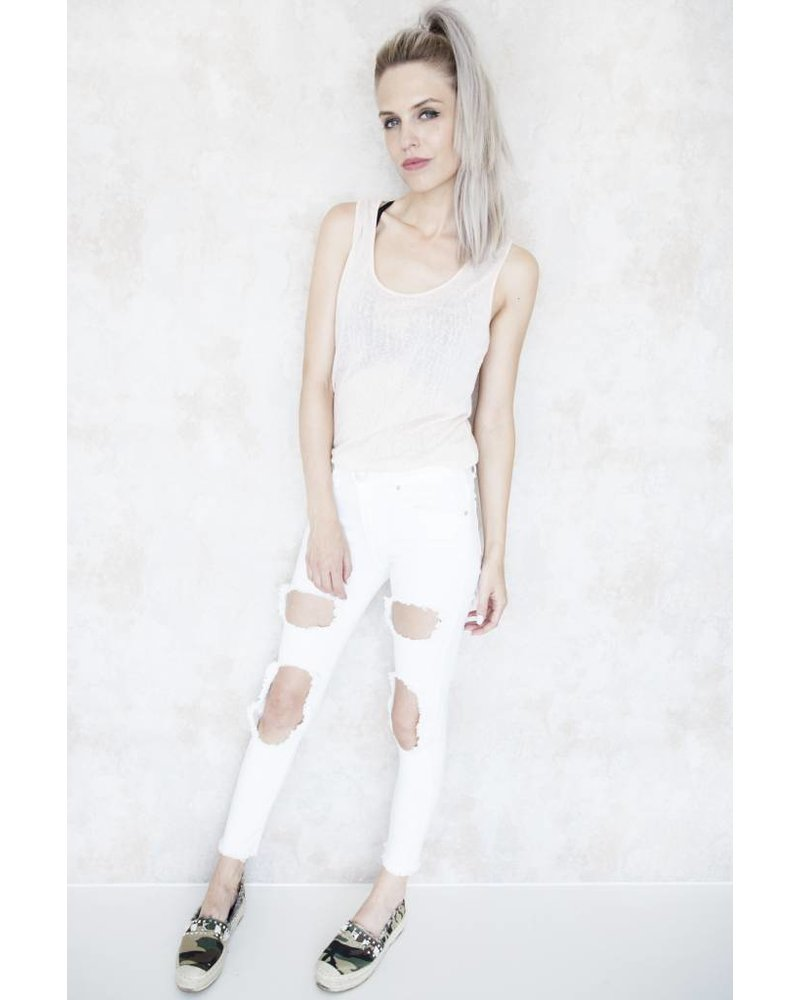 EXTRA RIPPED WHITE - JEANS