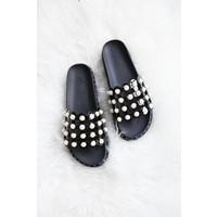 SANDY PEARLS BLACK - SLIPPERS