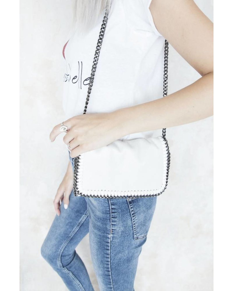 CHAIN BAG MINI WHITE - HANDTAS