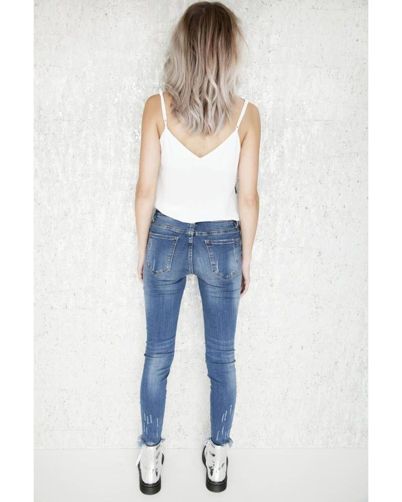 RIPPED SKINNY BLUE - JEANS
