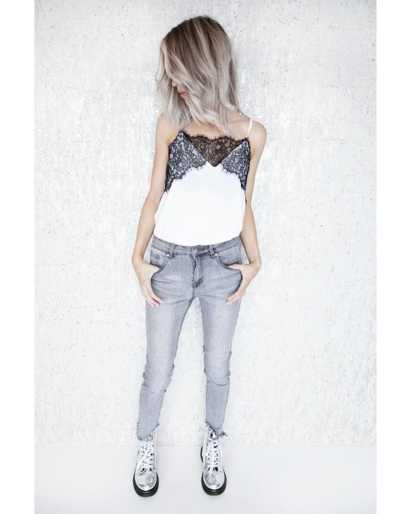 RIPPED SKINNY GREY - JEANS
