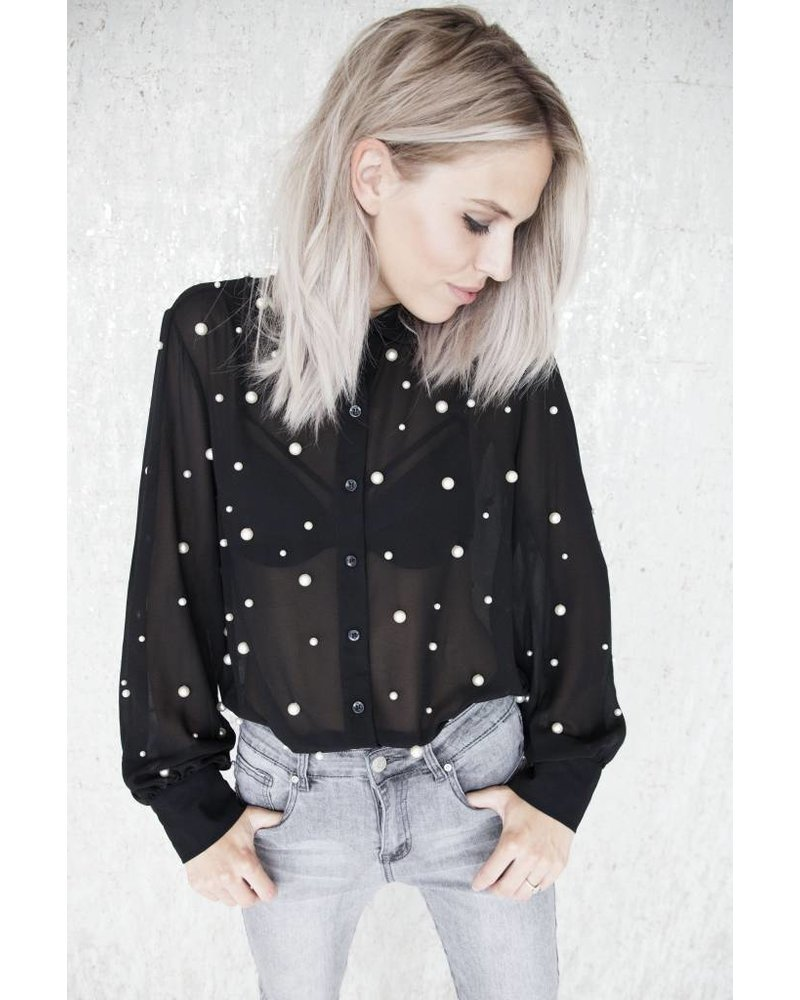 STATEMENT PEARLS SHORT  BLACK - BLOUSE