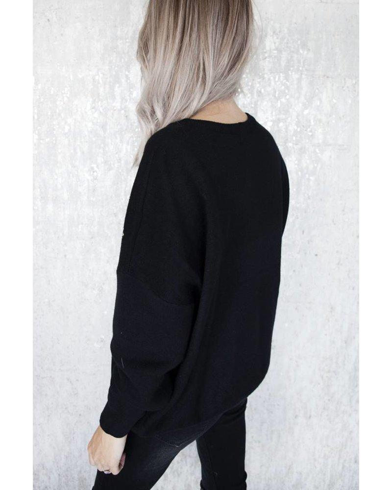 FRINGE BLACK - SWEATER