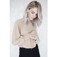 MADDY PEARLS CAMEL - BLOUSE