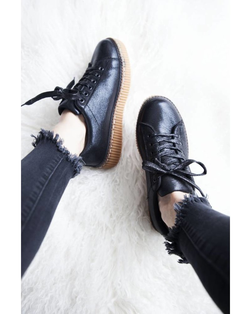 SHINY BLACK CREEPERS - SNEAKERS