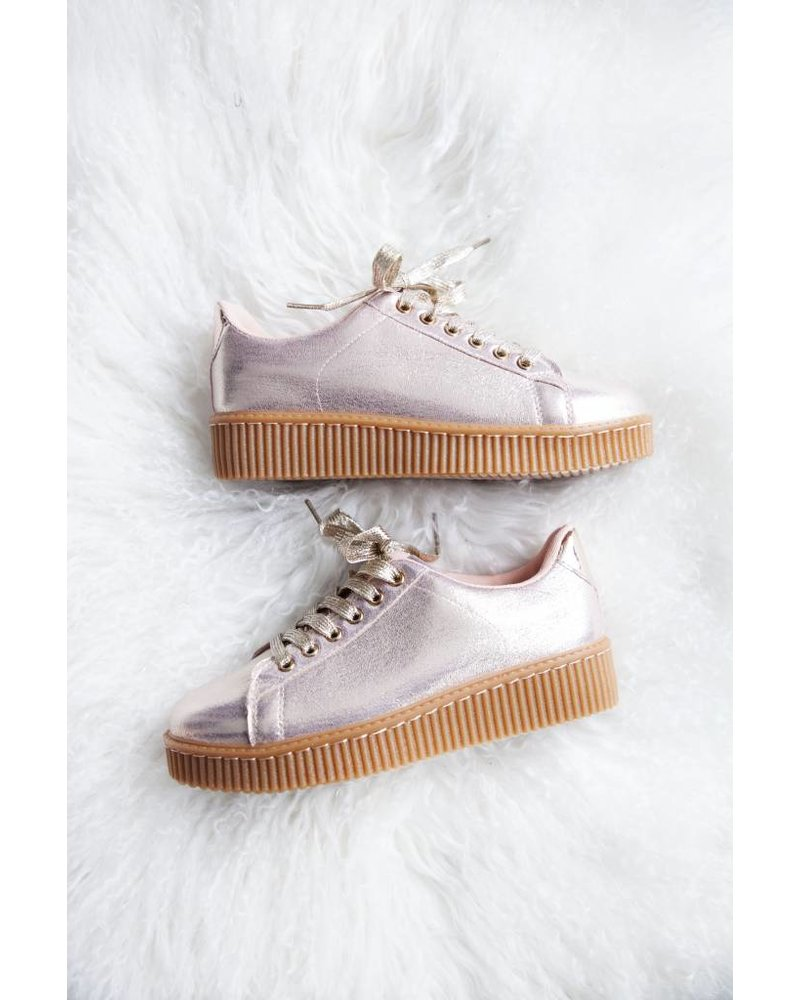 SHINY CHAMPANGE CREEPERS - SNEAKERS