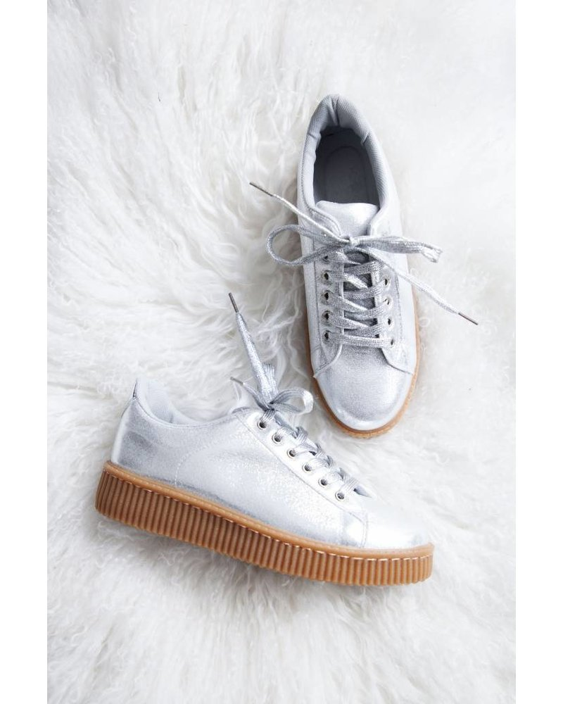 SHINY SILVER CREEPERS - SNEAKERS