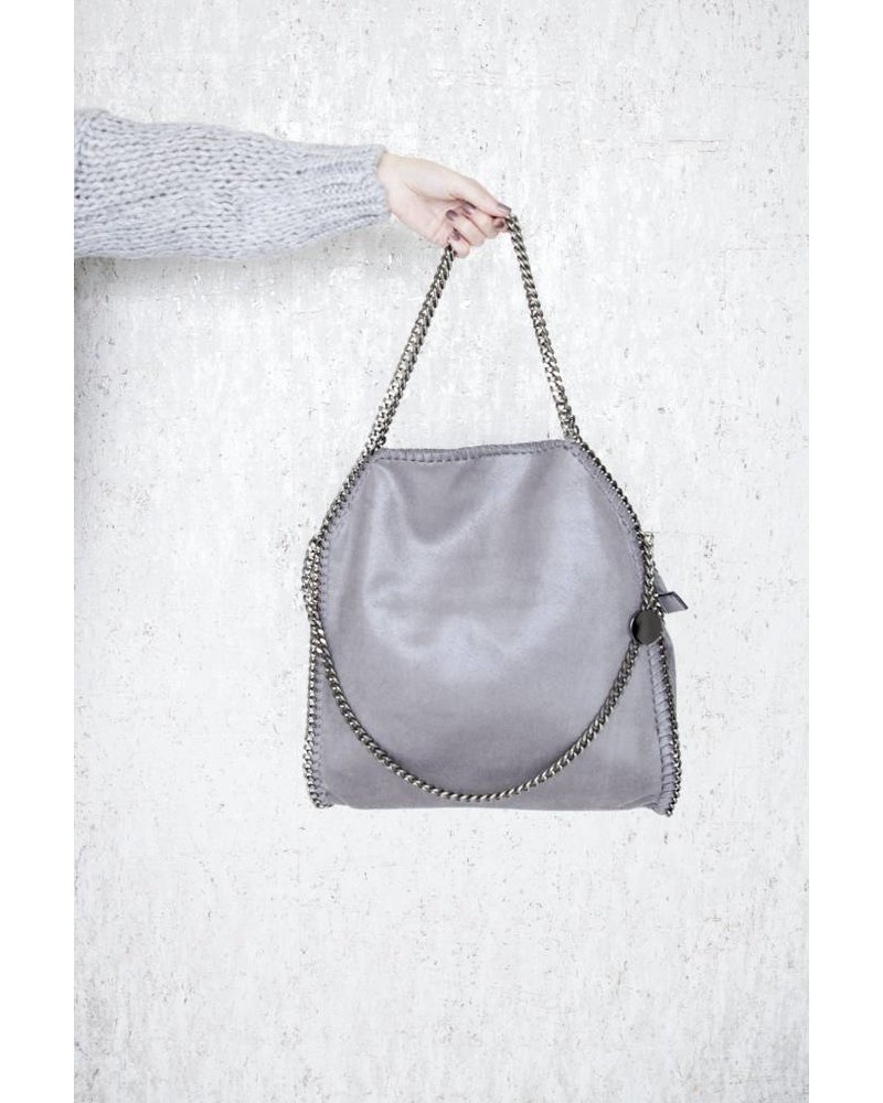 CHAIN BAG XL GREY - HANDTAS