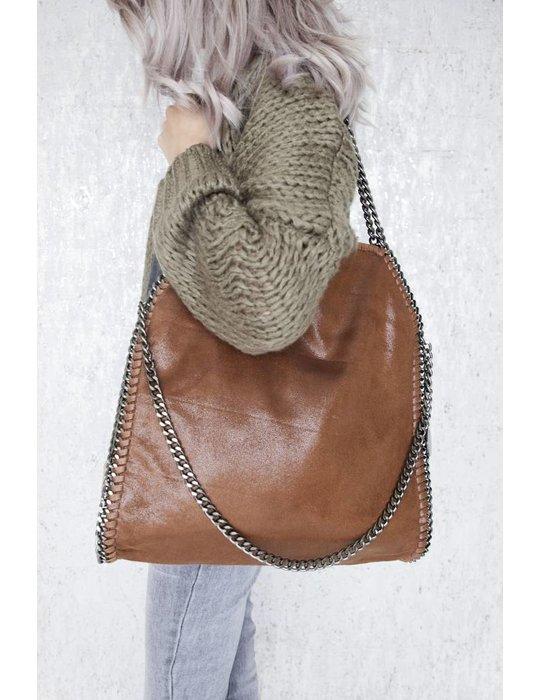 ellemilla CHAIN BAG XL BROWN