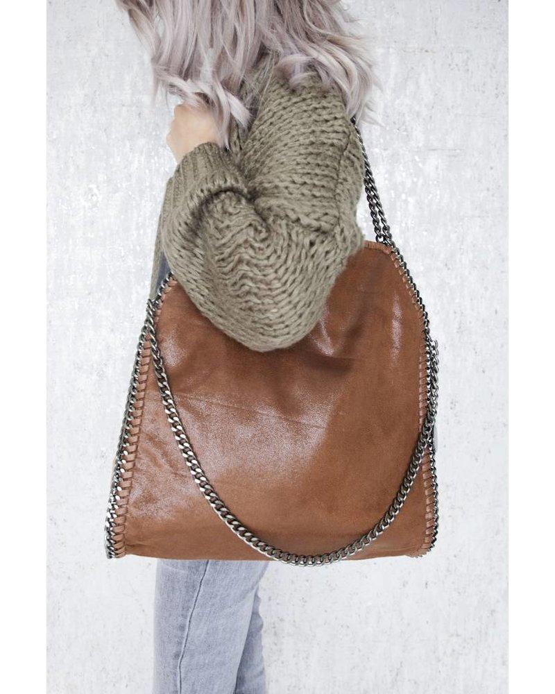 CHAIN BAG XL BROWN - HANDTAS