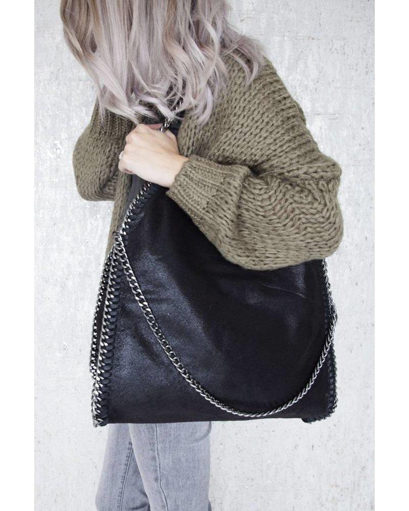 CHAIN BAG XL BLACK - HANDTAS