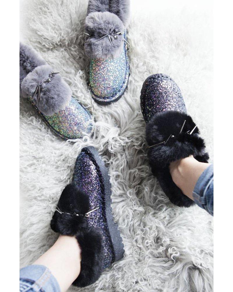SOFT & GLITTERY BLACK - FLATS