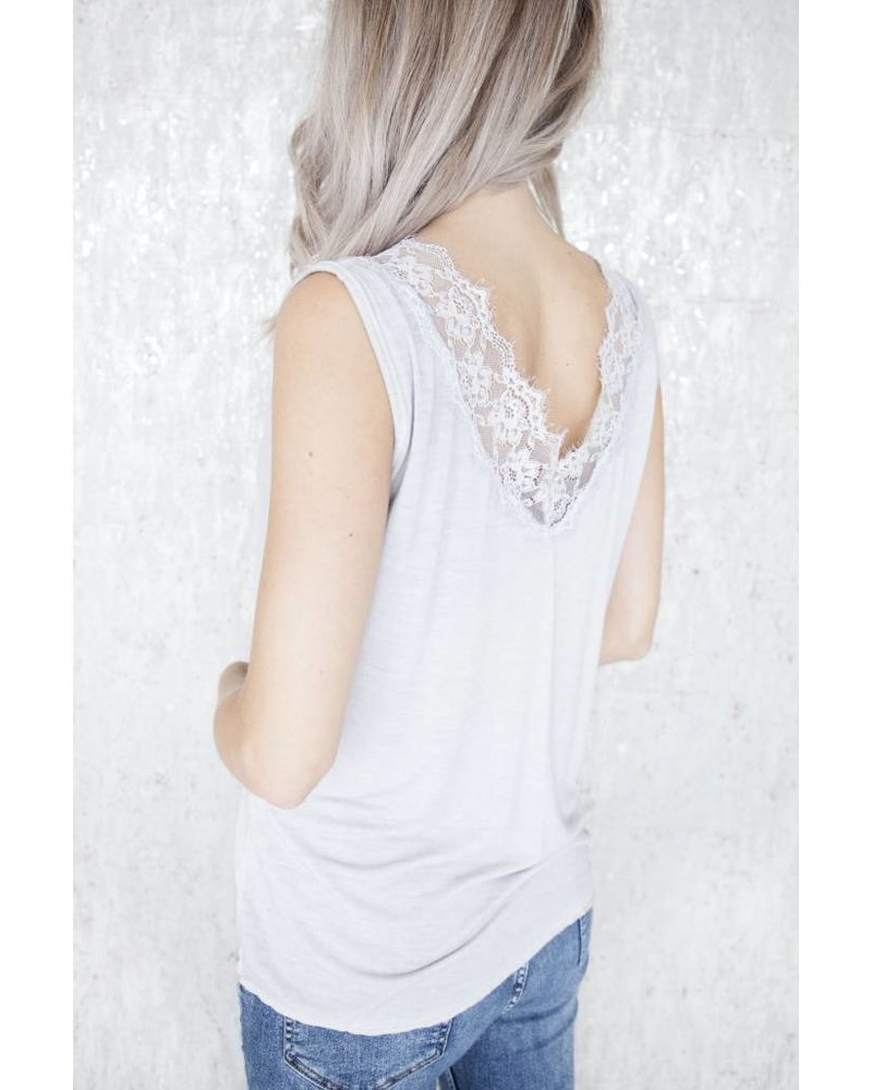 MELANY LACE LIGHT GREY - TOP