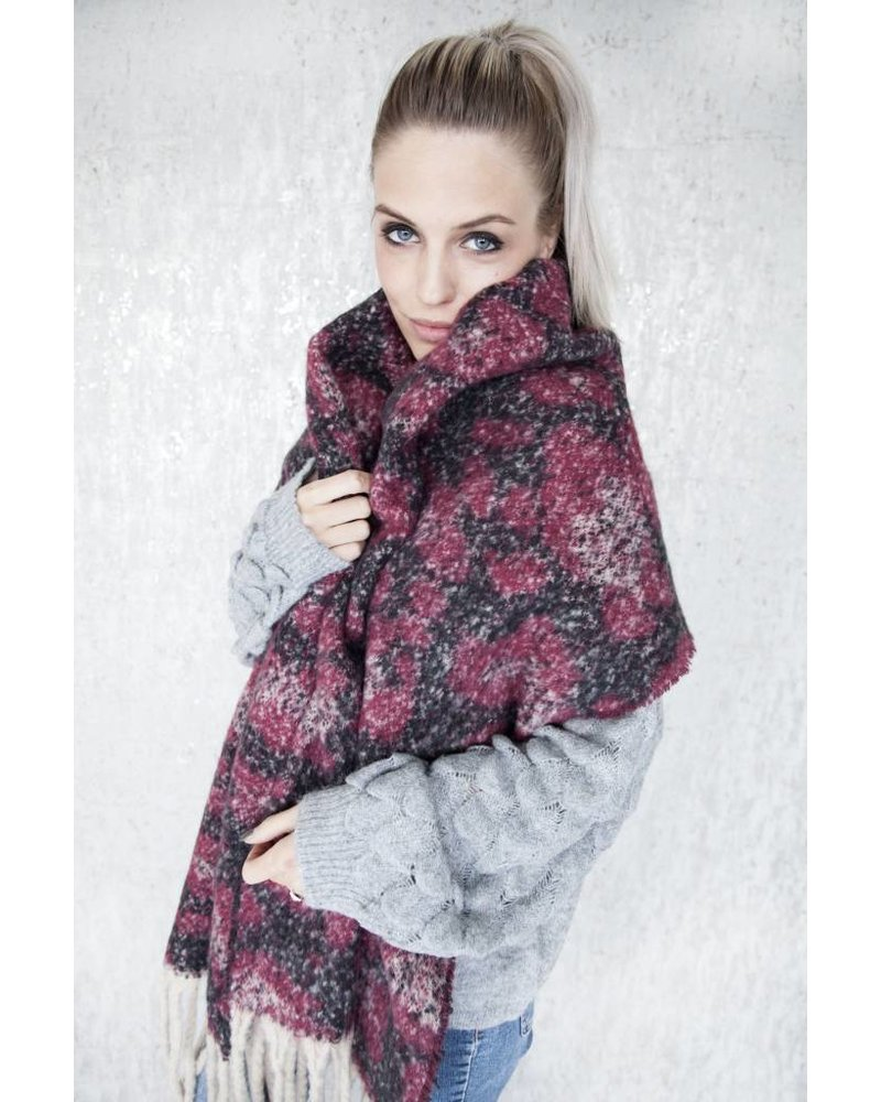 WARM ANIMAL RED/BLACK - SCARF