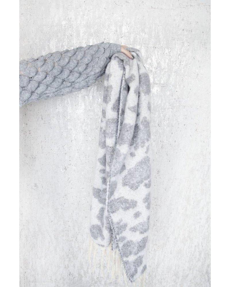WARM ANIMAL GREY/WHITE - SCARF