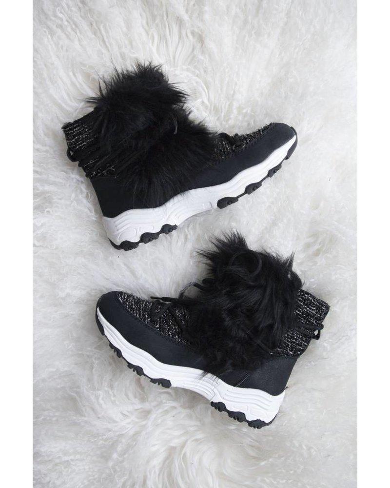 FAUX FUR BLACK - SNOW BOOTS