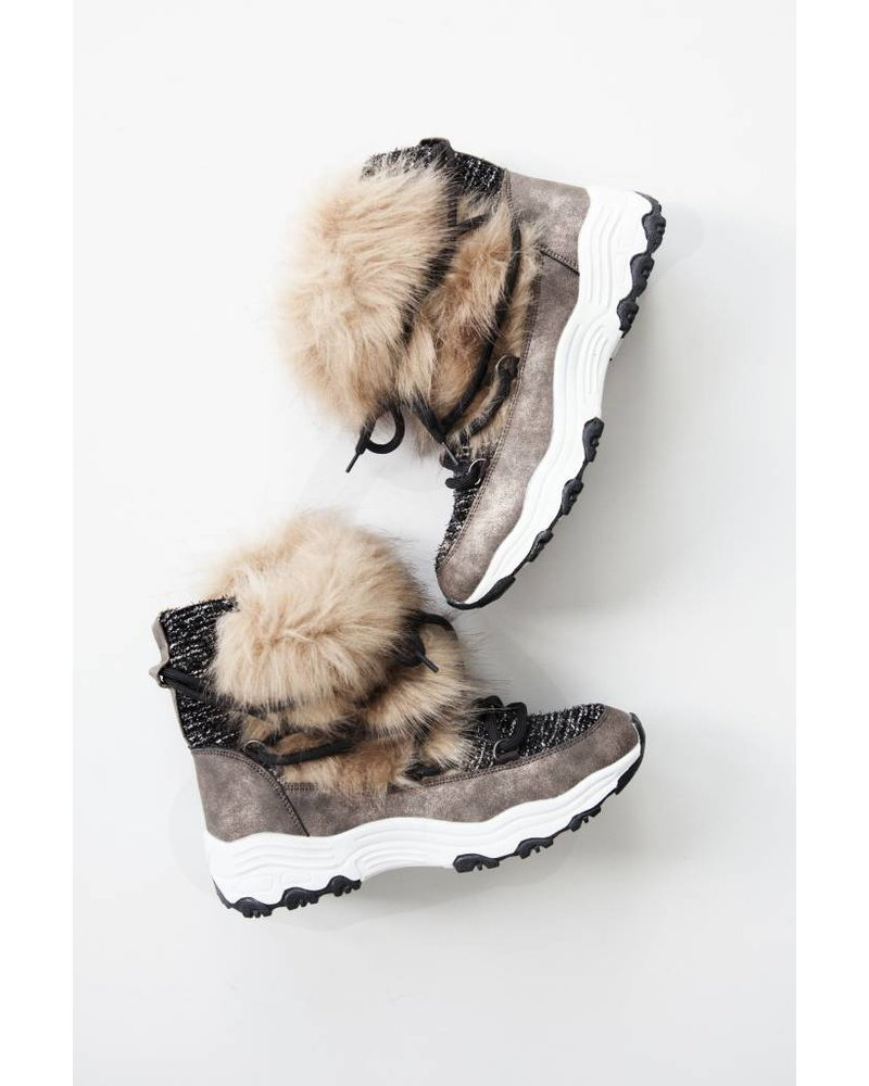 FAUX FUR TAUPE - SNOW BOOTS